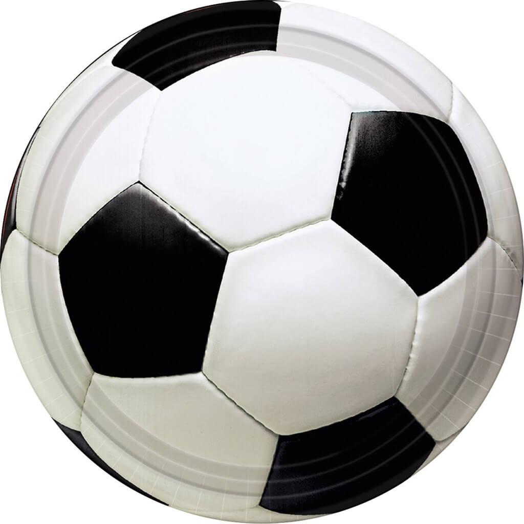 Assiette en papier Ballon de Foot ø18cm (Lot de 8)