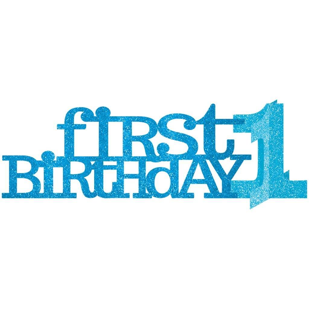 Centre de table en papier bleu First Birthday Boy
