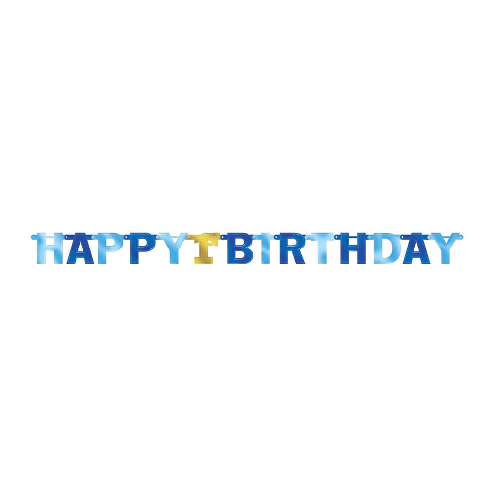 Guirlande en papier bleu et or Happy Birthday 1st