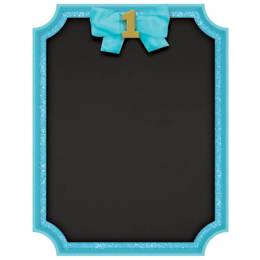 Tableau noir 1st Birthday avec contour bleu 23x18cm