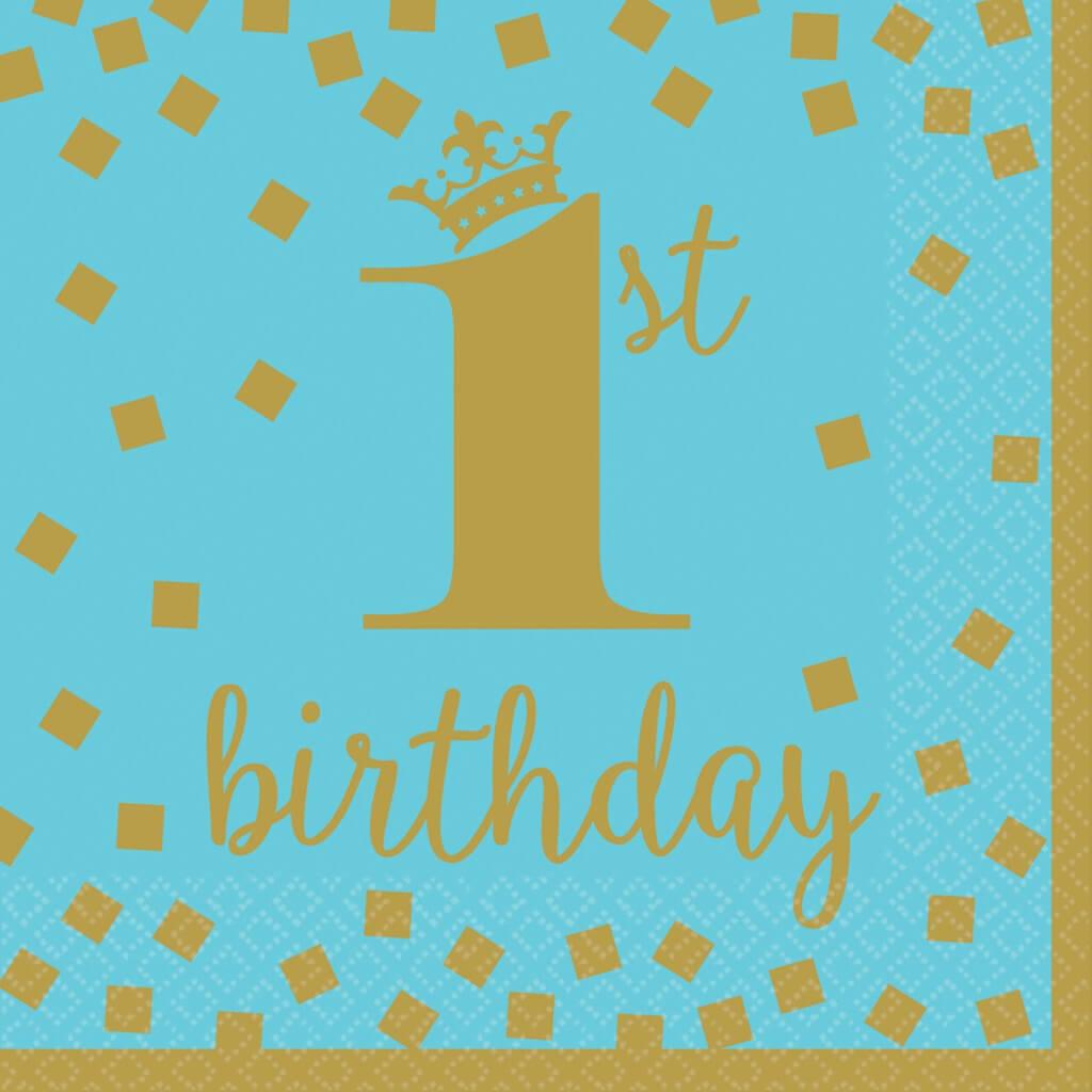 Serviette 1st Birthday bleu et or (Lot de 16)