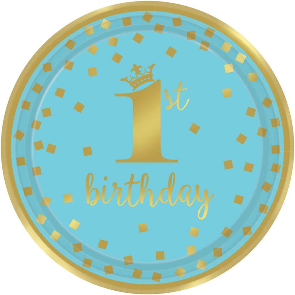Assiette en papier 1st Birthday bleu et or ø18cm  (Lot de 8)