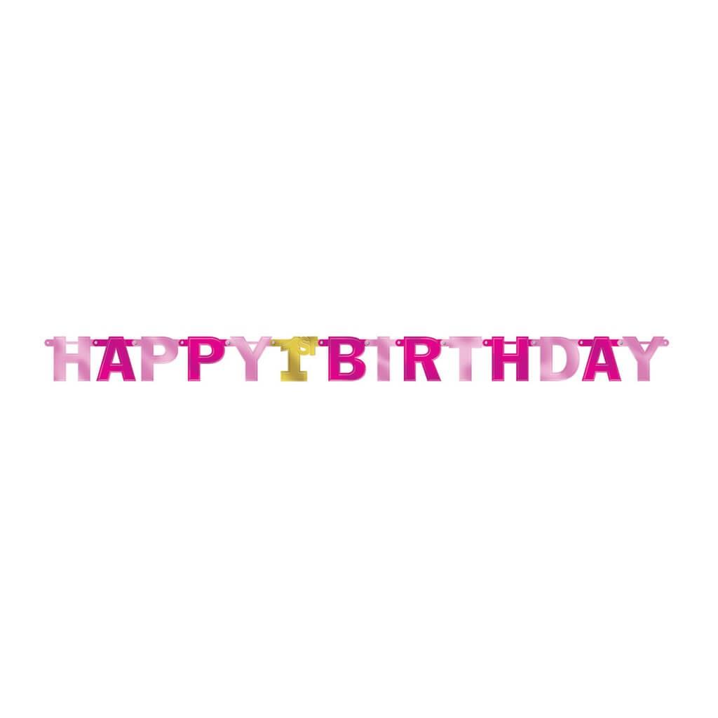 Guirlande en papier rose et or Happy Birthday 1st