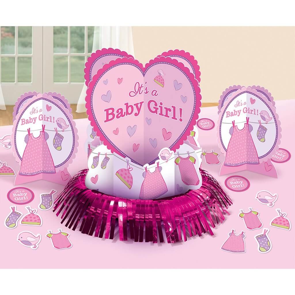 Kit décoration de table Baby Shower Fille (23 pièces)