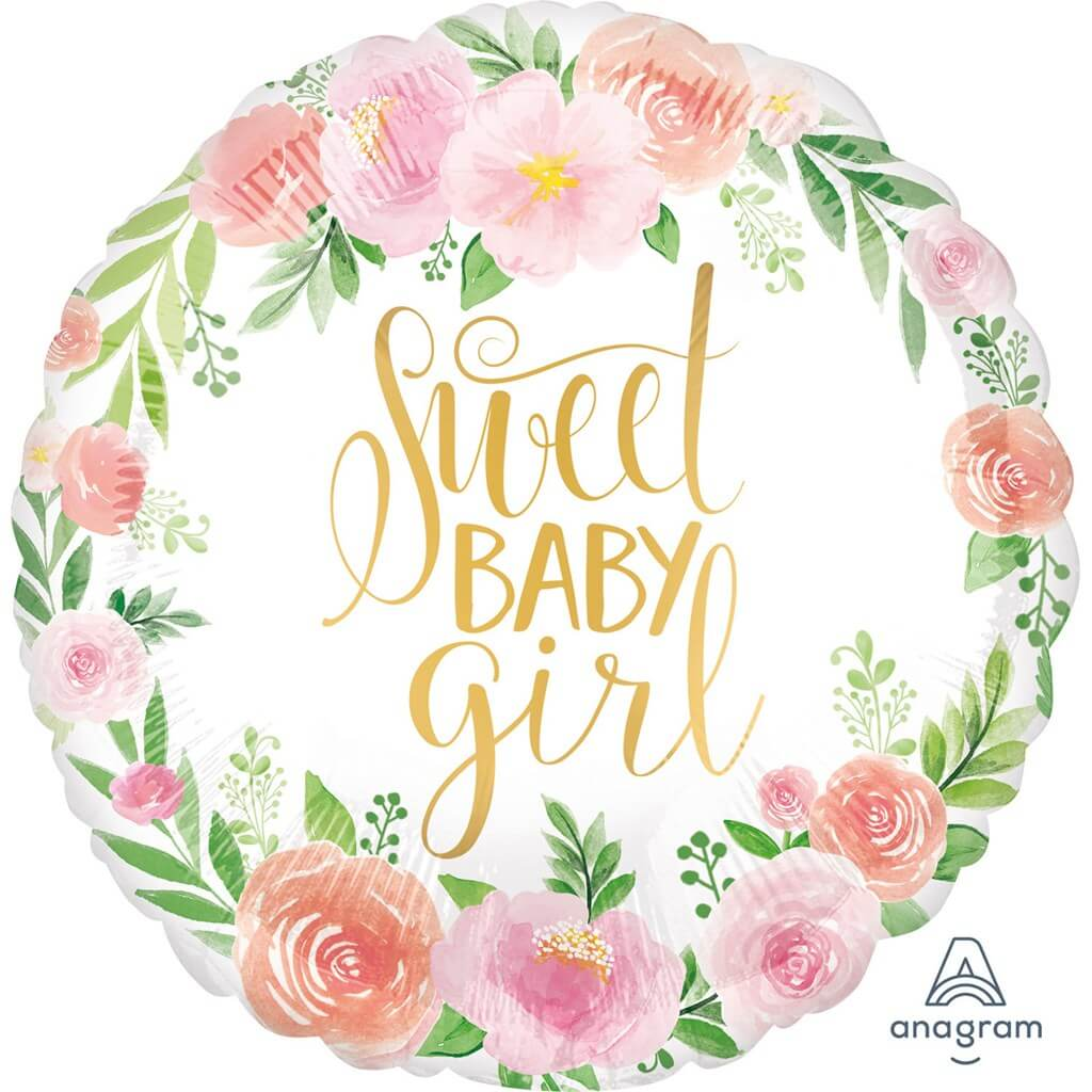 Ballon rond floral Sweet Baby Girl