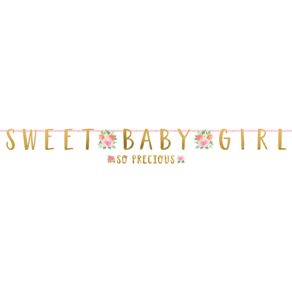 Lot de 2 guirlandes florales Sweet Baby Girl