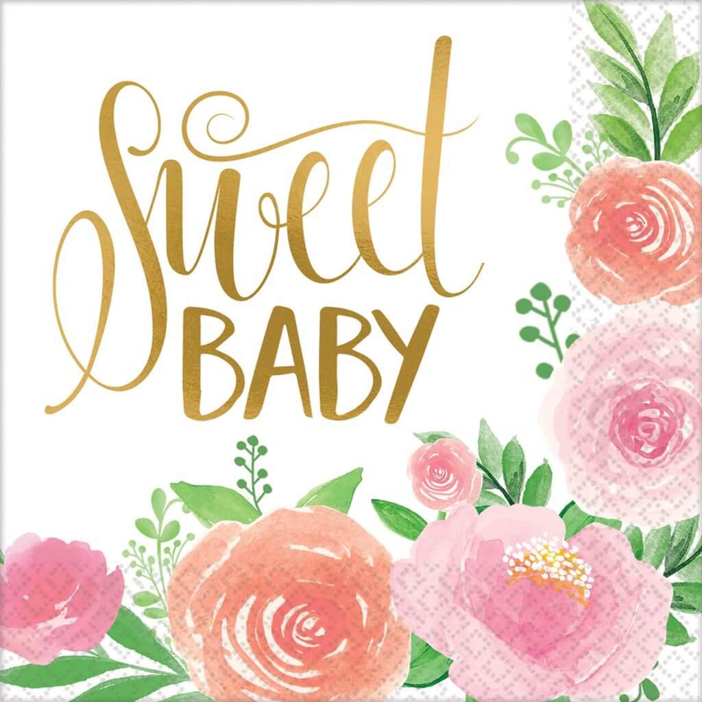 Serviette en papier Sweet Baby Girl (Lot de 16)