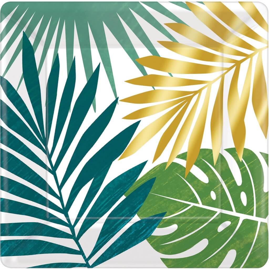 Assiette en papier carré motif Feuilles tropicales 18x18cm