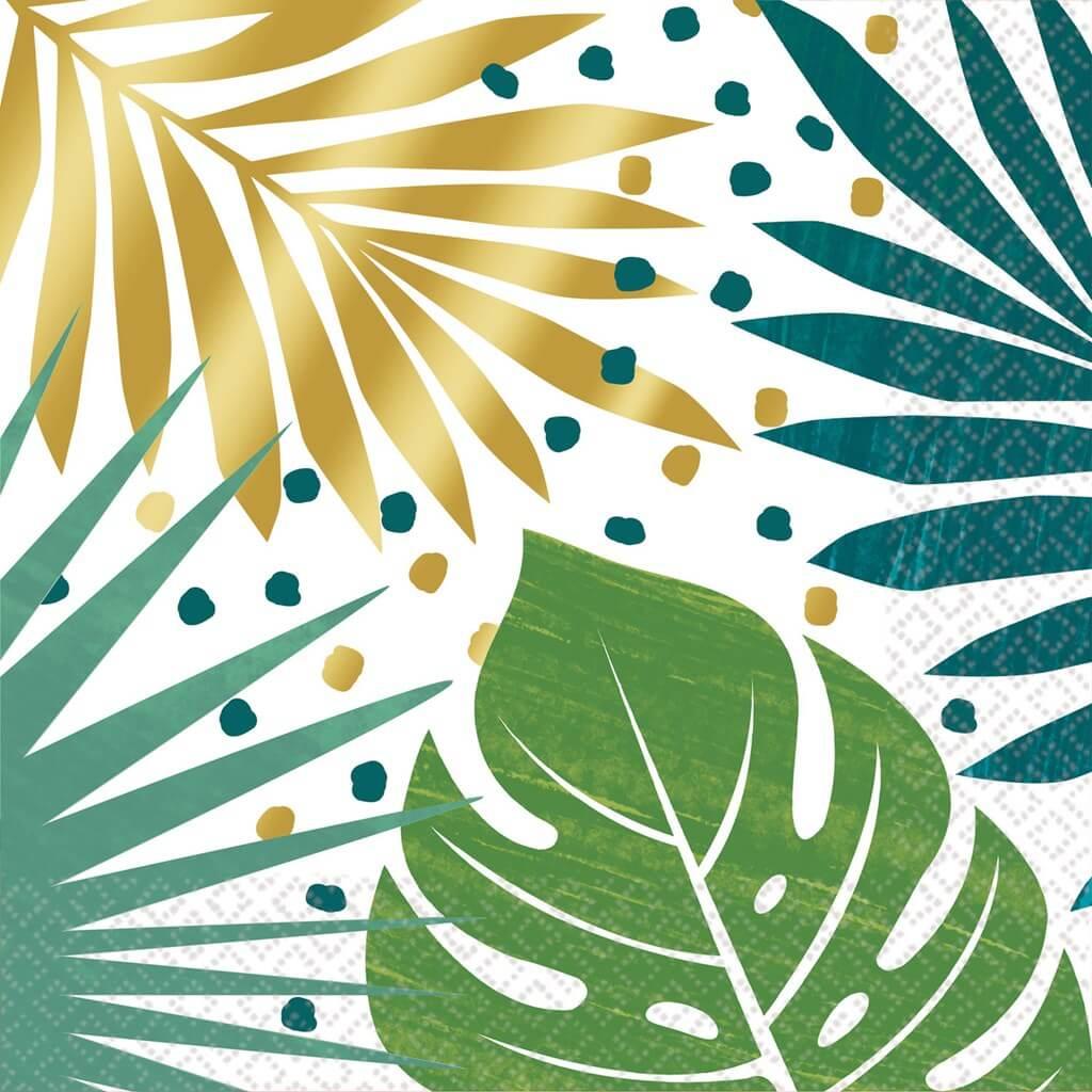 Serviette en papier motif feuilles tropicales (lot de 16)