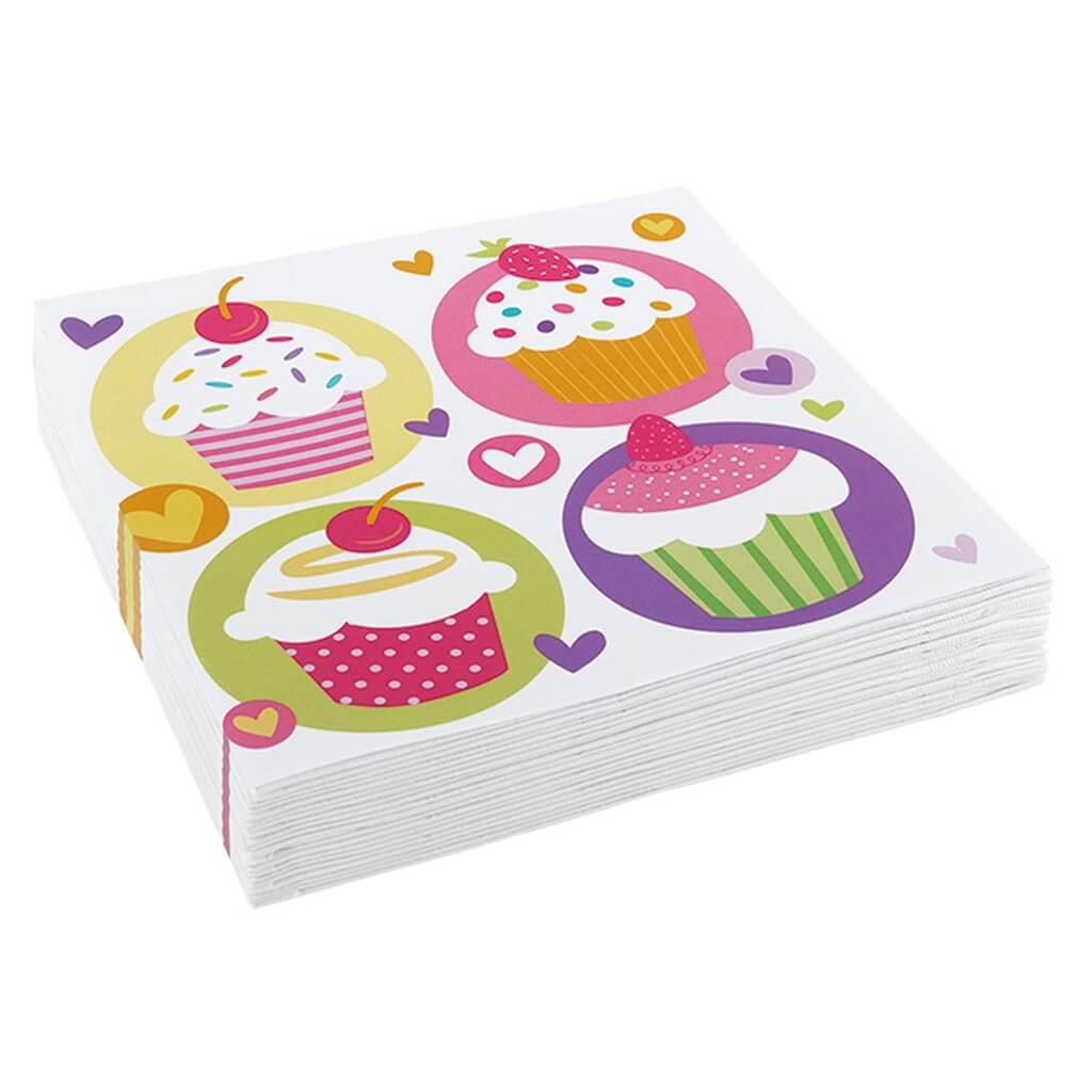 Serviette en papier motifs Cupcake (Lot de 20)