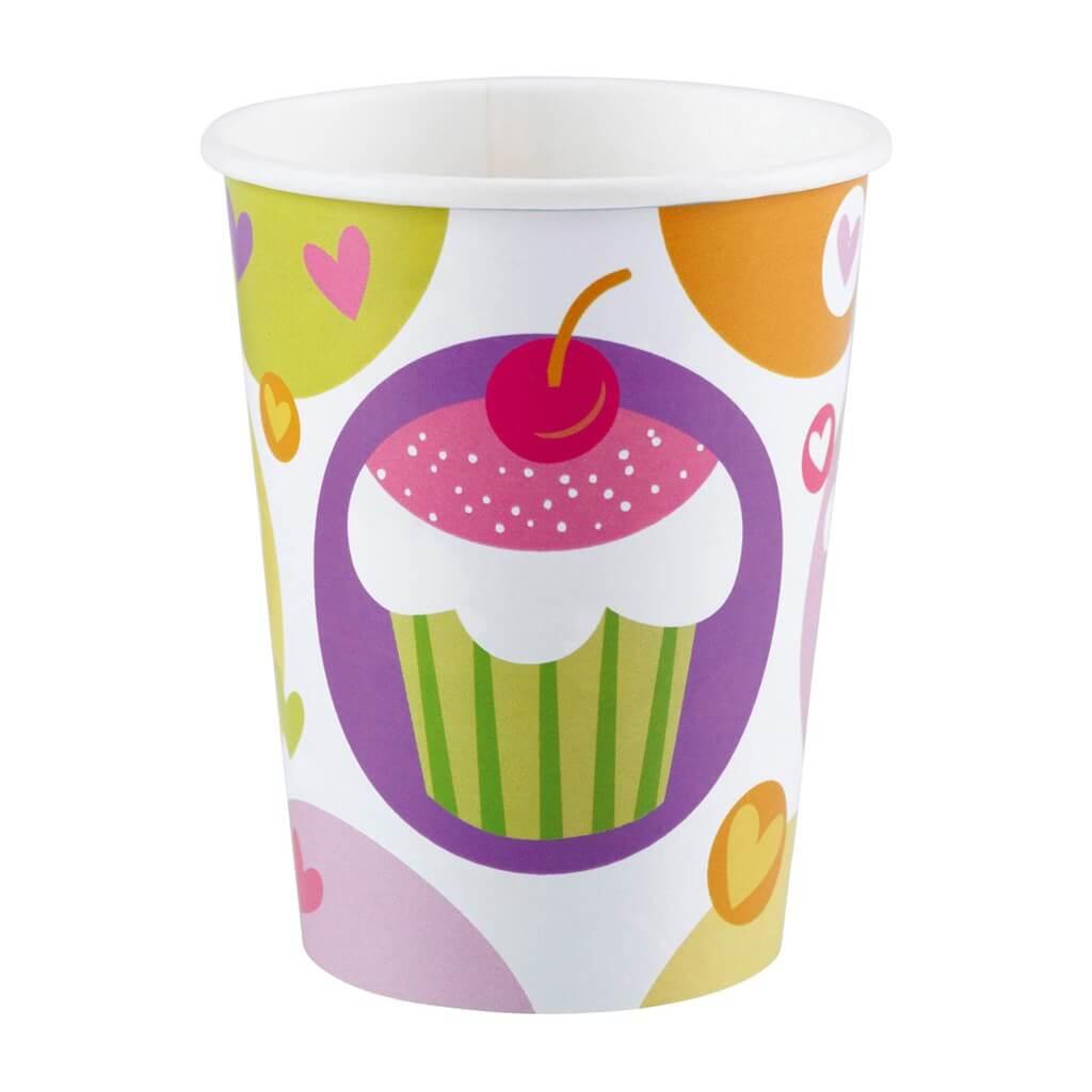 Gobelet anniversaire Cupcake 25cl (Lot de 8)