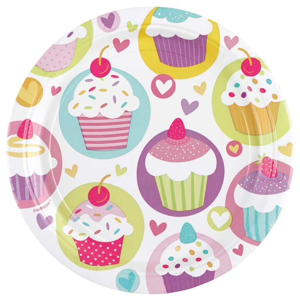 Assiette en papier motifs Cupcake ø23cm (Lot de 8)