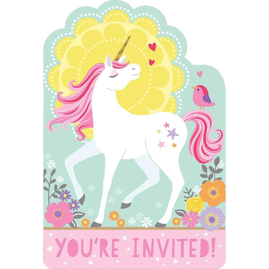 Invitation + Enveloppe Licorne Magique (Lot de 8)