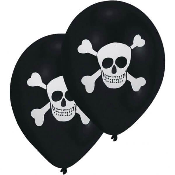 Lot de 8 ballons tête de mort Pirate