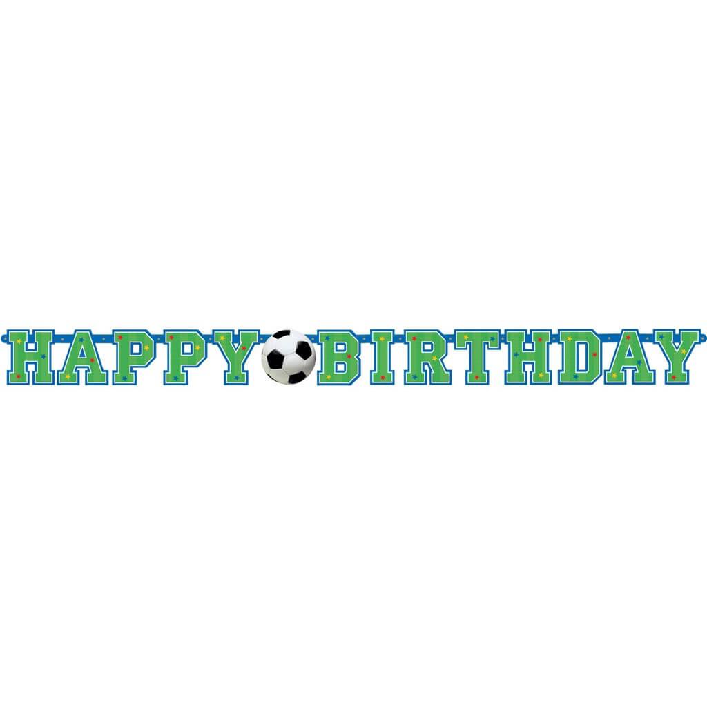 Guirlande en papier Happy Birthday Football 130x10cm