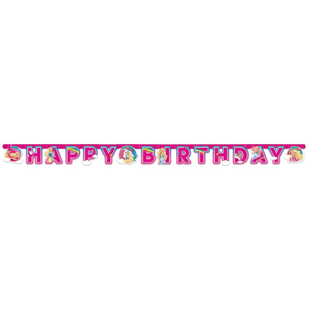 Guirlande en papier Happy Birthday Barbie