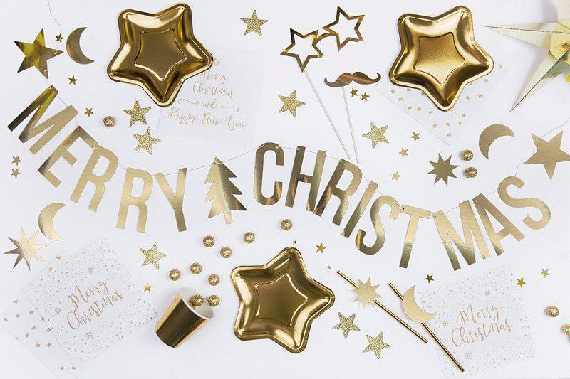 Guirlande en papier MERRY CHRISTMAS or 150cm