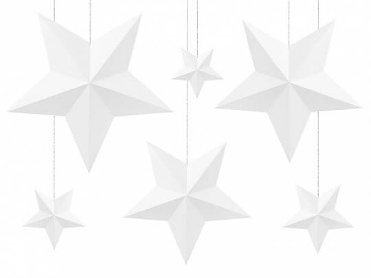 Décoration étoiles blanches (6 pièces)