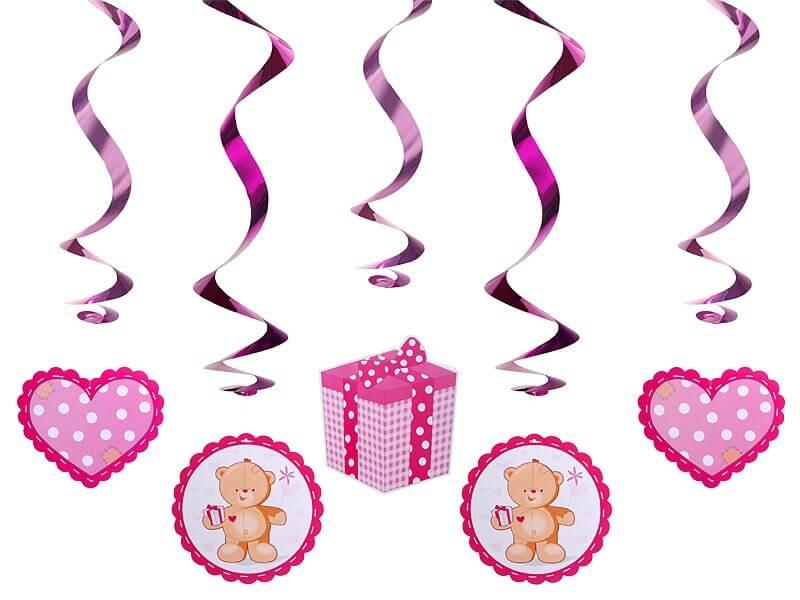Décoration Spirale rose It's a Girl 60cm (5 pièces)