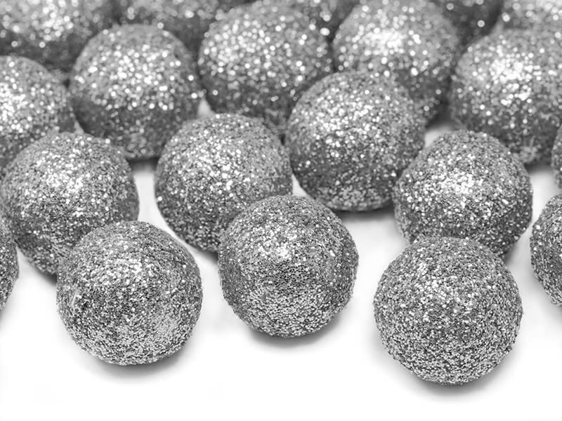 Décoration Boule argent pailletée ø2cm(25 pièces)