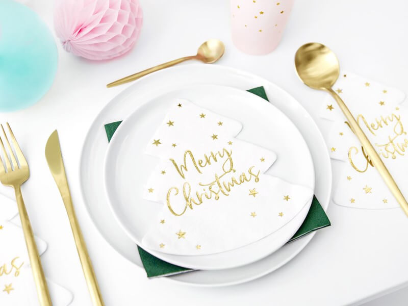 Serviette en papier forme Sapin Merry Christmas (Lot de 20)