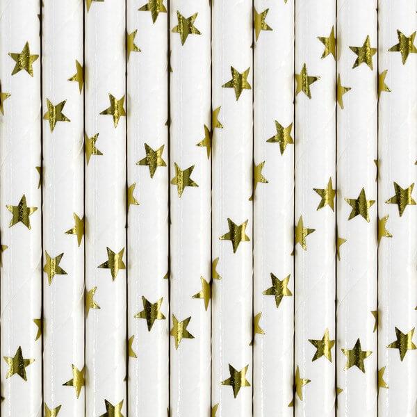 Paille en papier blanche étoile or (lot de 10)