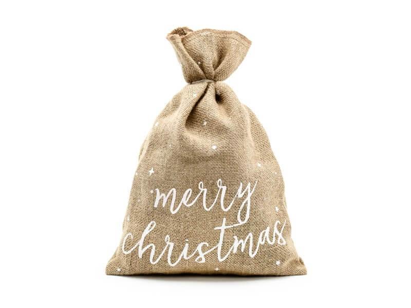 Sac en toile de jute naturelle Merry Christmas