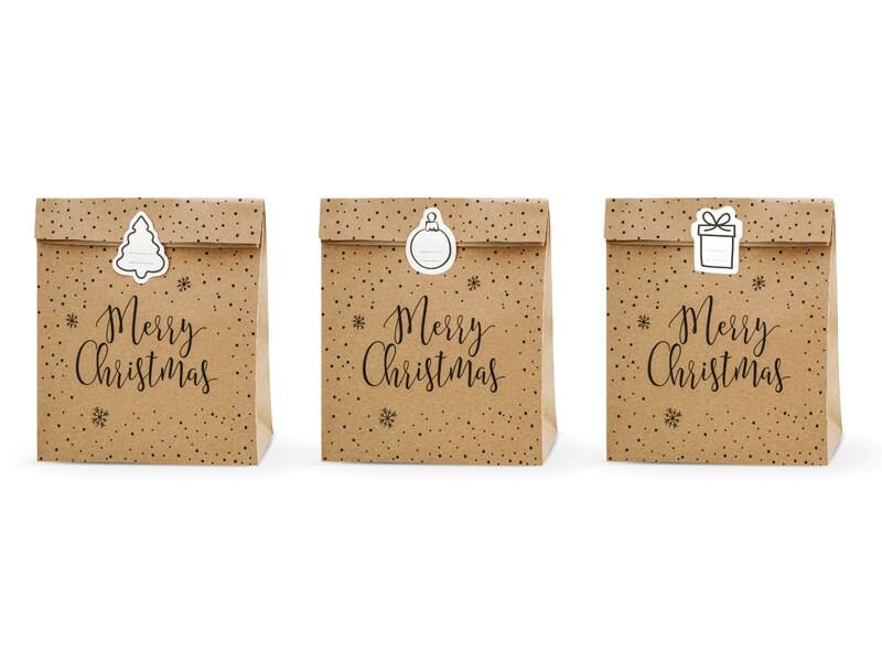 Sac cadeau papier kraft Merry Christmas (3 pièces)