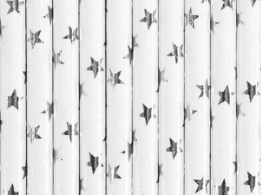 Paille en papier blanche étoile argent (lot de 10)