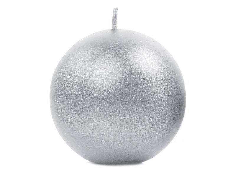 Bougie ronde métallique argent ø 8cm