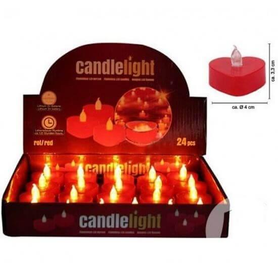 Bougie LED coeur rouge flamme vacillante
