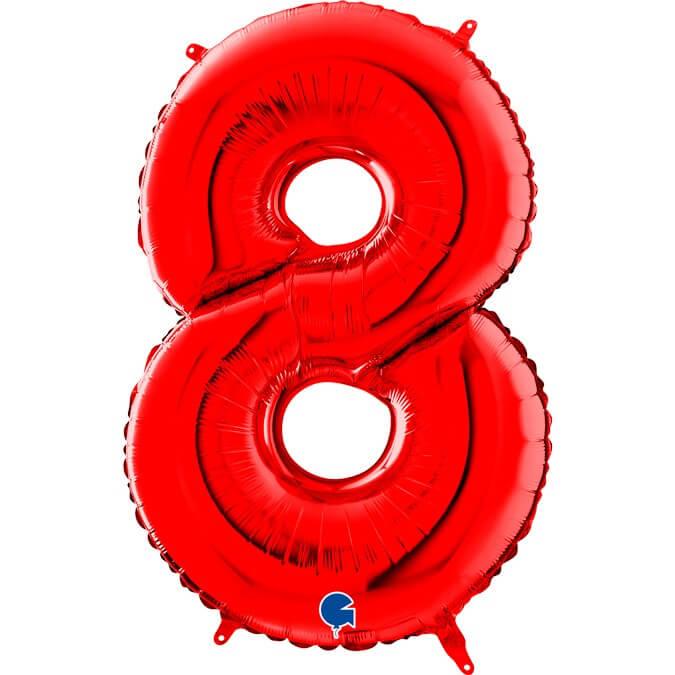 Ballon anniversaire chiffre 8 Rouge 102cm