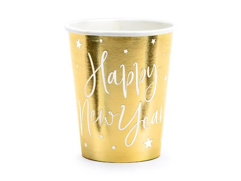 Lot de 6 verres en papier or Happy New year