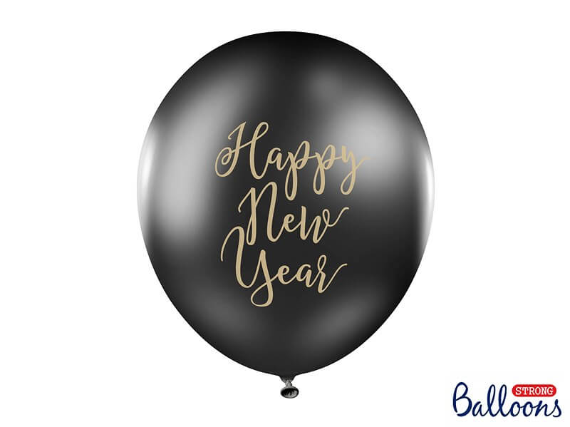 Lot de 6 ballons noirs Happy New Year