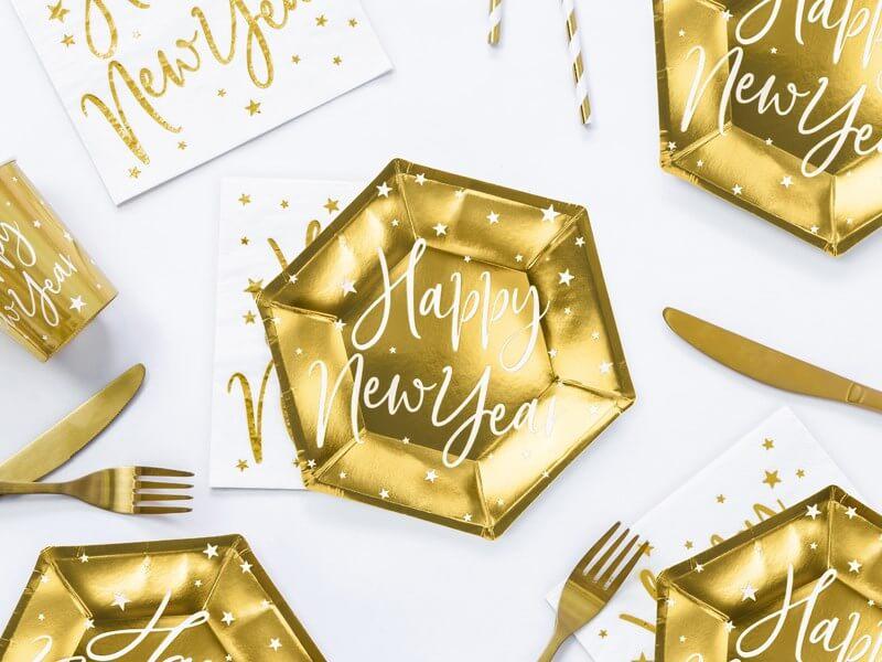 Assiette Happy New Year Or (Lot de 6)