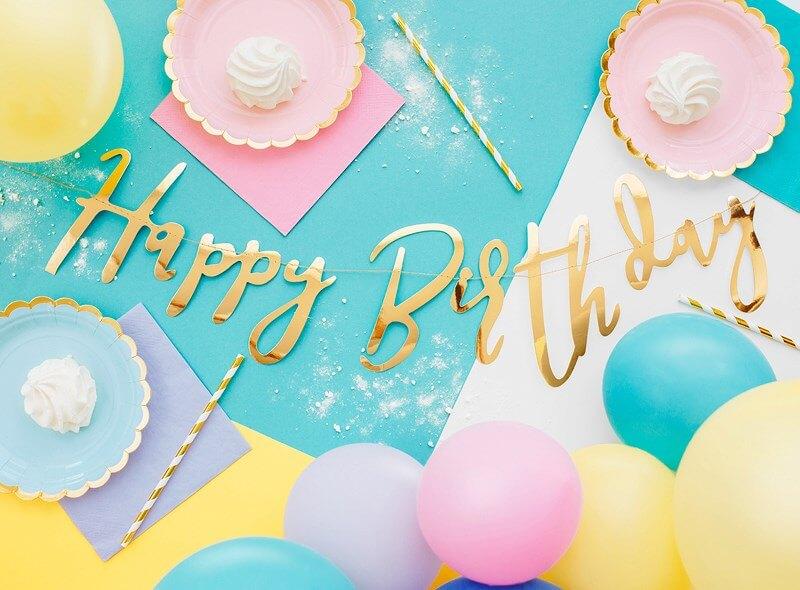 Guirlande Happy Birthday Or