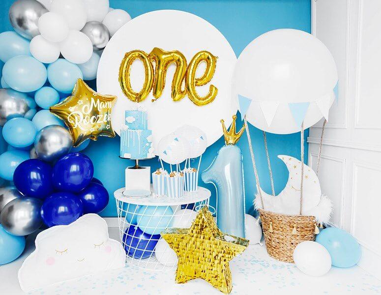 Ballon Bleu Clair Chiffre 1 avec Couronne