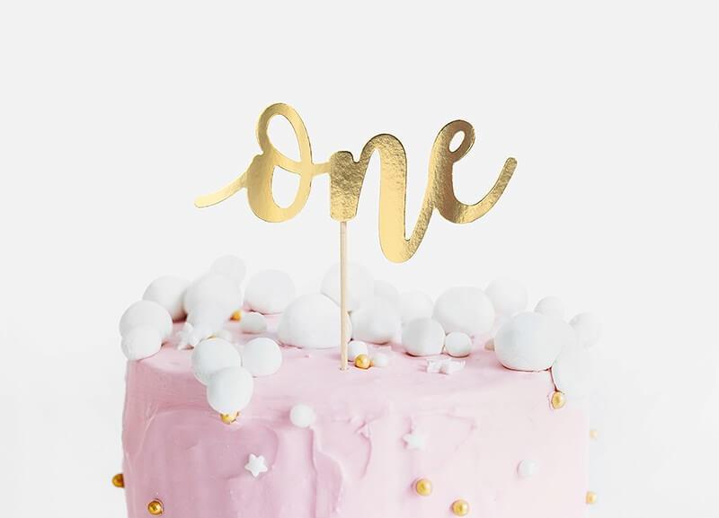 Décoration pour Gâteau One couleur Or