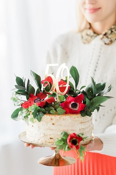Décoration pour Gâteau 50 couleur Or