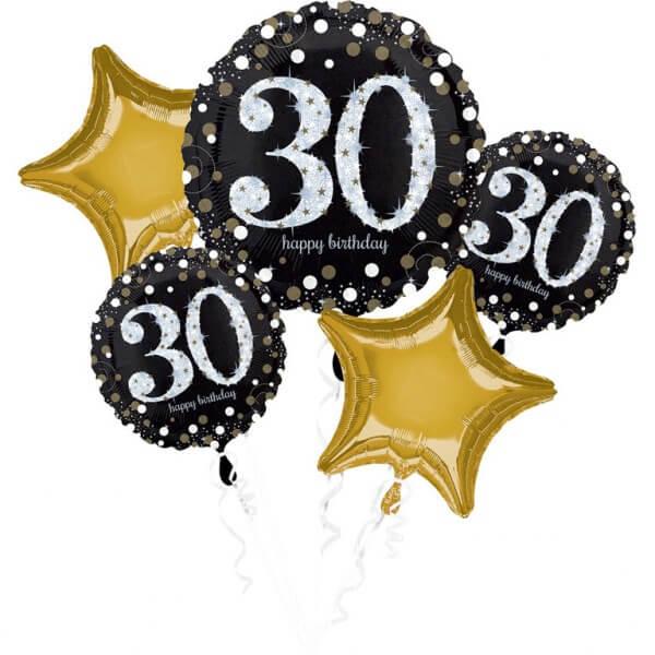 Bouquet de 5 ballons Birthday 30 ans