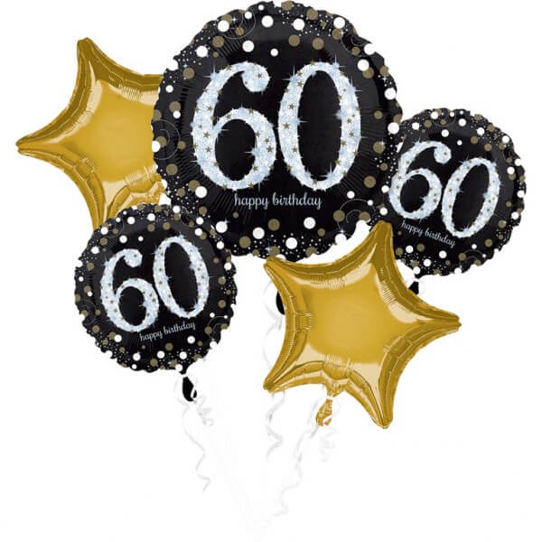 Bouquet de 5 ballons Birthday 60 ans