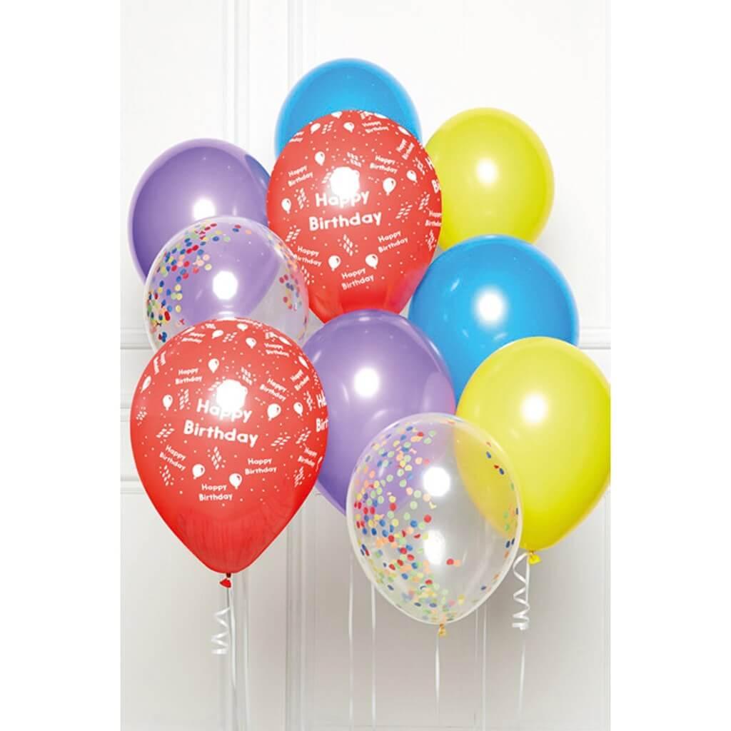 Bouquet de 10 ballons Happy Birthday multicolores