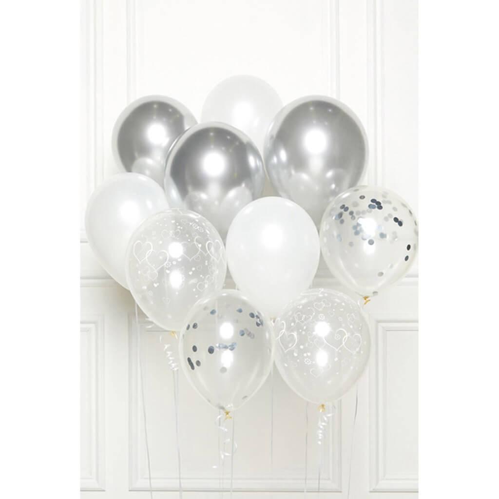 Bouquet de 10 ballons Thème Argent