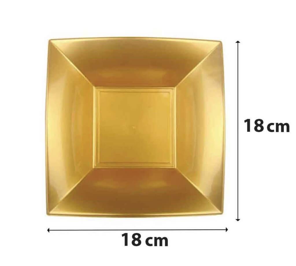 Assiette creuse carré Or 18x18cm - Lot de 12