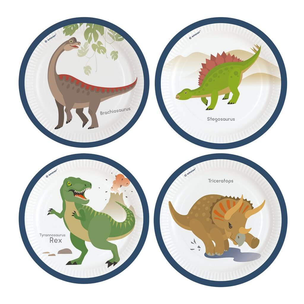 8 assiettes en papier Dinosaure ø23cm
