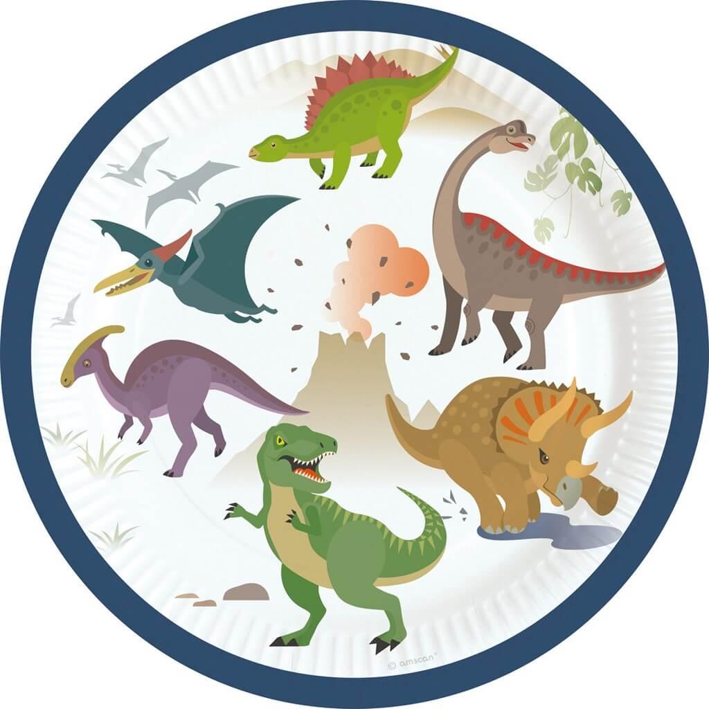 8 assiettes en papier Dinosaure