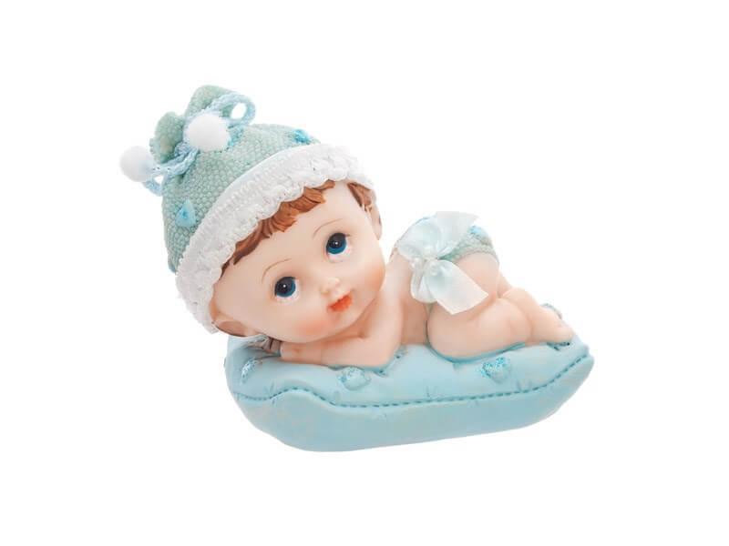 Figurine Bébé Garçon sur un coussin bleu