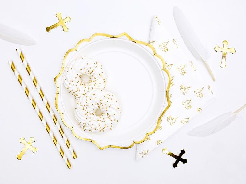 Assiette en papier blanche bord dorée (Lot de 6)