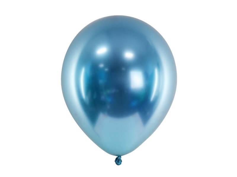50 Ballons Métalliques Brillants Bleus
