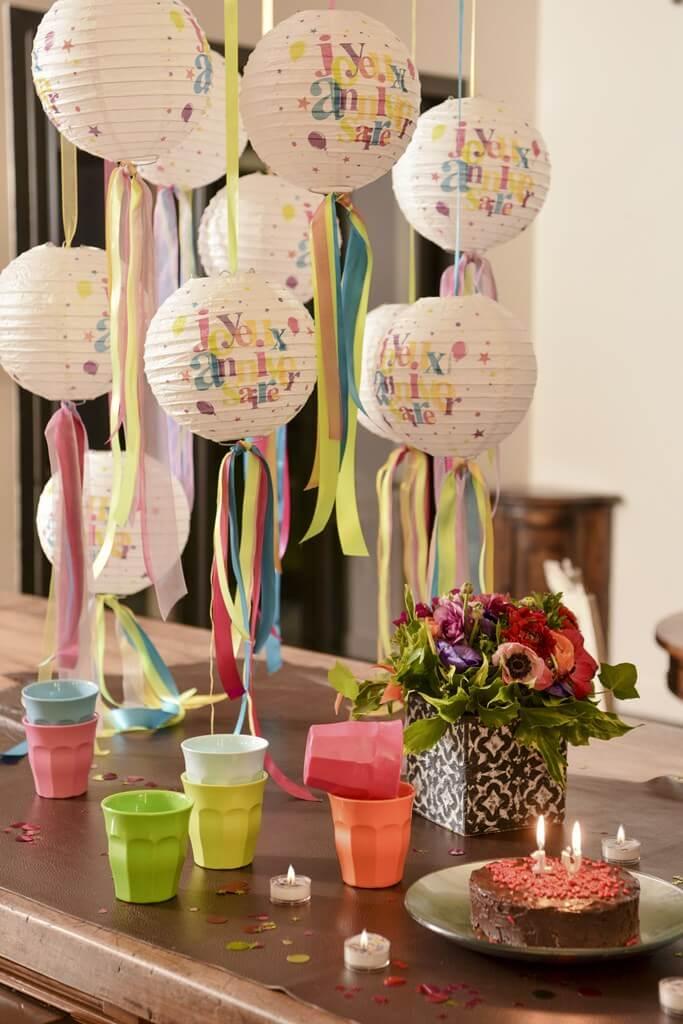 Lanterne Joyeux Anniversaire Multicolore (Lot de 2)